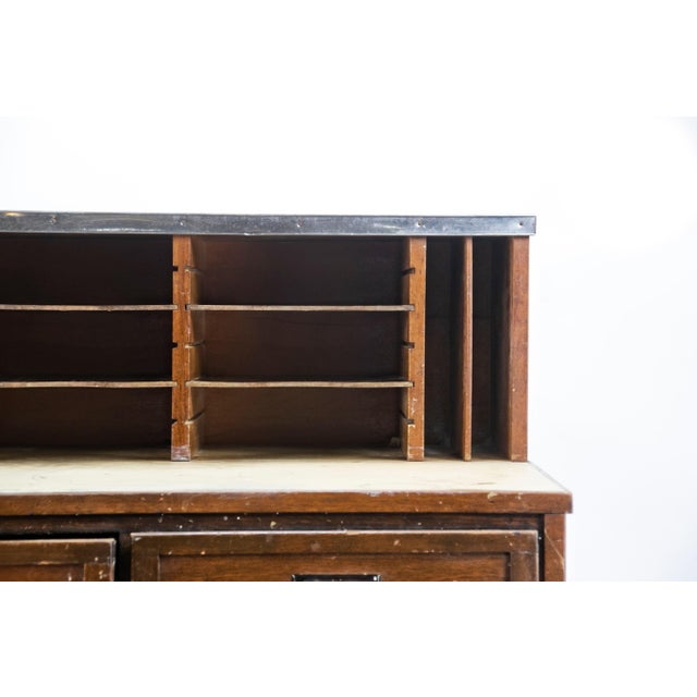 Industrial 1920s Industrial Eighteen-Drawer Clerical Desk For Sale - Image 3 of 5