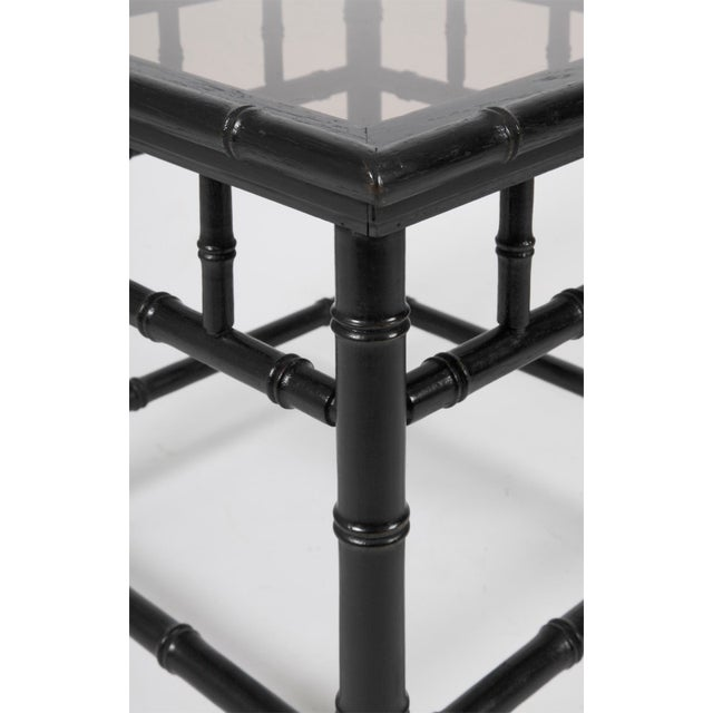 Traditional 20th Century Boho Chic Black Painted Faux Bamboo Side Tables - a Pair For Sale - Image 3 of 4