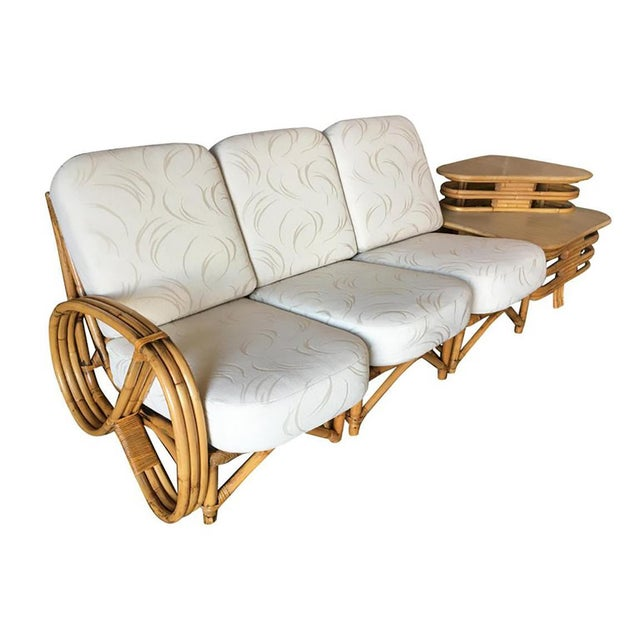 Restored 3/4 Round Pretzel Rattan Three Seater Sofa With Two Tier Table For Sale - Image 11 of 11