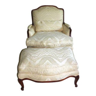 French Style Oversized Cream/White Bergere Chair with Ottoman For Sale