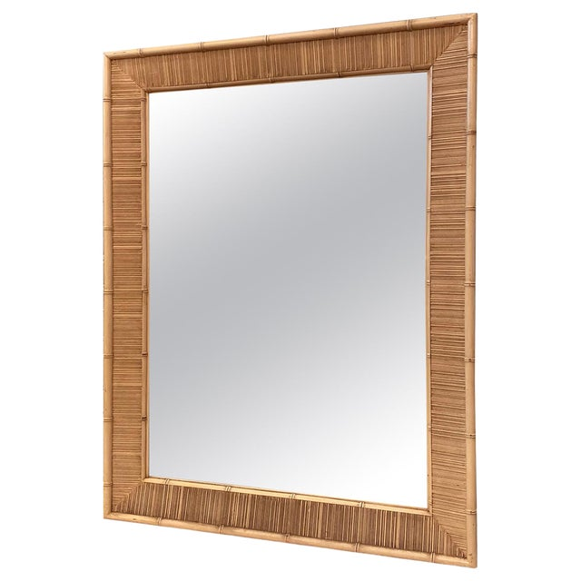 Paul Frankl Style Mid Century Bamboo Motif Wall Mirror For Sale