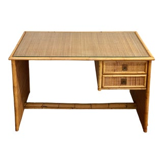 Hollywood Regency Dal Vera Bamboo and Rattan Desk For Sale