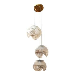 Modernist Sculptural Triple Glass Globe Pendant For Sale
