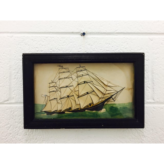19th Century Ship Diorama in Frame - Image 9 of 11