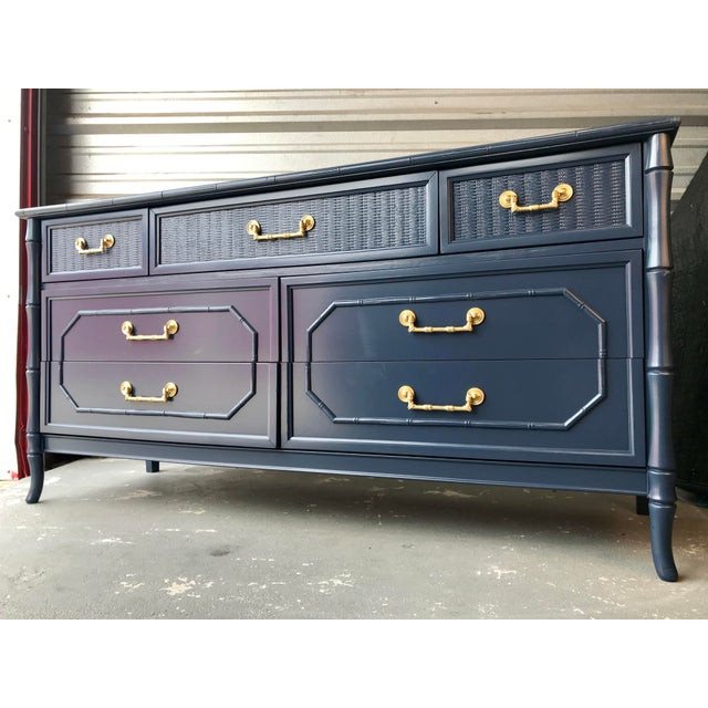 Faux Bamboo Broyhill Newly Lacquered Dresser For Sale - Image 11 of 11