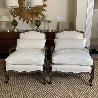 Vintage Ebony Chinoiserie Bergere Lounge Chairs- Pair Preview