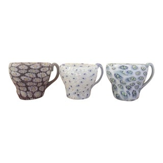 Italian Murano Glass Millefiori Demitasse Cups - Set of 3 For Sale