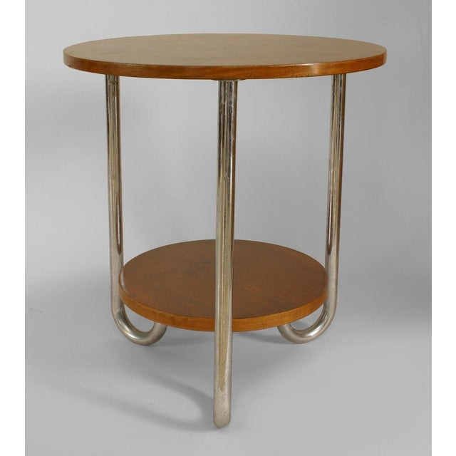 French Art Deco round fruitwood and triple chrome leg end table with shelf