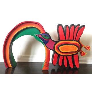 A Cheery Bird and Rainbow Sculpture by Belgian Master Corneille