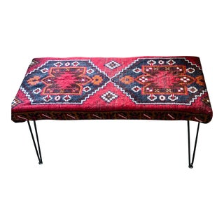 Persian Kilim Bench With Hair Pin Legs For Sale