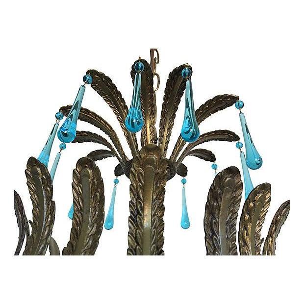Mid-Century Brass Acanthus Lantern Chandelier - Image 4 of 6