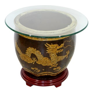 Mid Century Modern Jardiniere Ceramic Side End Table Vessel Planter Dragons For Sale