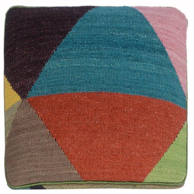 Textile Arshs Deb Ivory/Red Kilim Upholstered Handmade Ottoman For Sale - Image 7 of 8