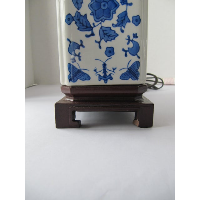 Blue and White Chinoiserie Lamp For Sale - Image 5 of 7