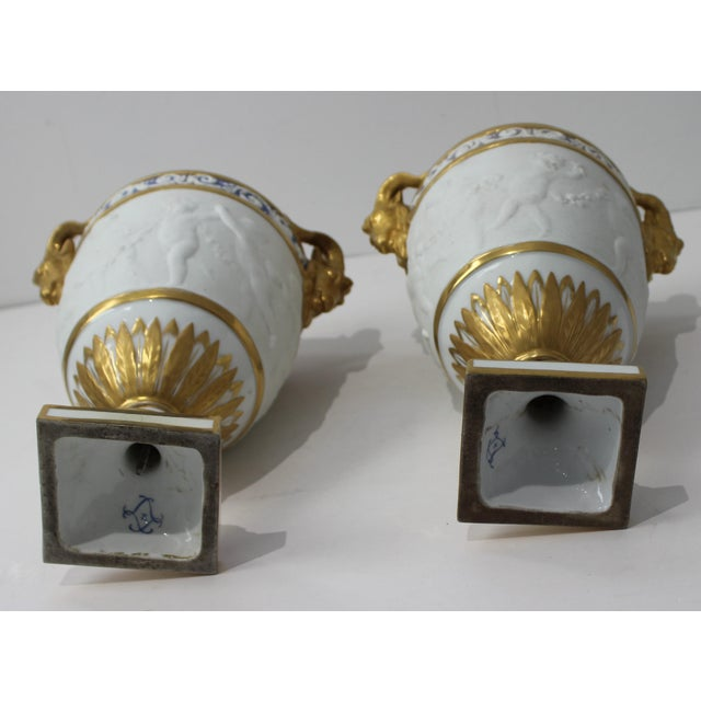 Antique 19th Century Sevres Style Urns - a Pair For Sale - Image 9 of 13