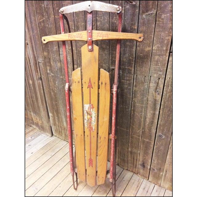 Vintage Weathered Wood & Metal Runner Sled - Image 2 of 11