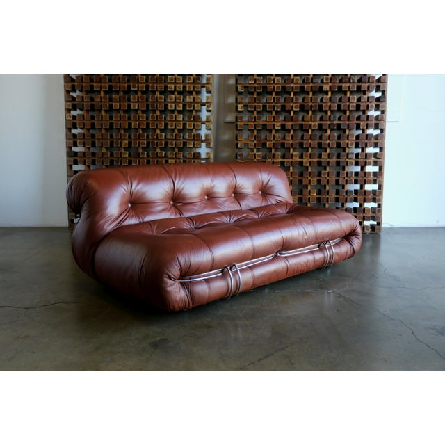 Brown Soriana Settee by Afra & Tobia Scarpa for Cassina For Sale - Image 8 of 13