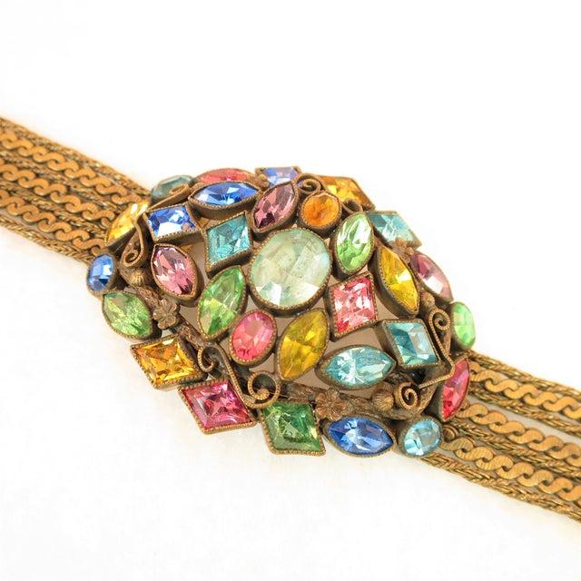 Art Deco Czech Art Deco Jewel-Tone Bohemian Crystal & Chains Bracelet 1920s For Sale - Image 3 of 13