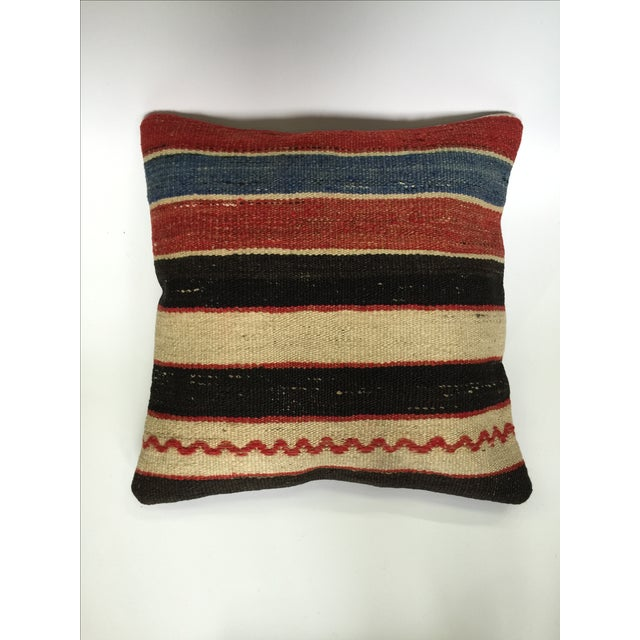 Striped Handmade Kilim Pillow Cover - Image 2 of 4