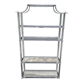 Billy Baldwin Style Pagoda Design Top Polished Nickel and Brass Etagere For Sale