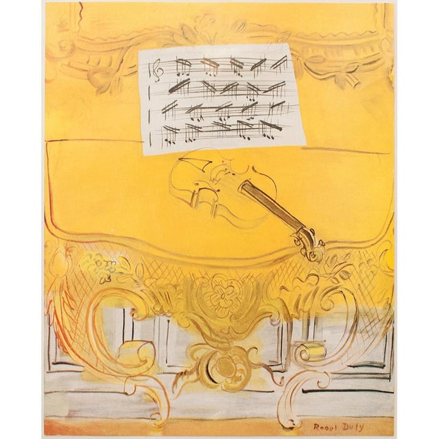 "Vintage tipped-in offset lithograph after oil painting ""Yellow Console With A Violin""(1949) by Raoul Dufy. Signed in the..."