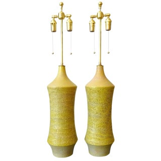 Tall Citrine 1950s Lee Rosen for Design Technics Table Lamps - a Pair For Sale