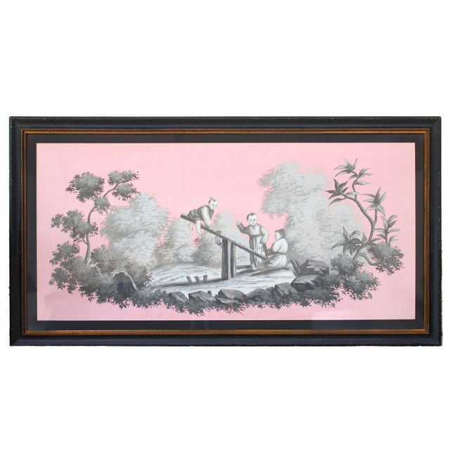 Vintage Chinoiserie Painting of Children Playing Painted in Grisailles on Pink Background For Sale - Image 4 of 4