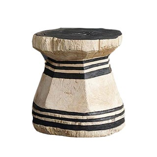 Javanese Teak Lesung Natural Stripe Charcoal Base Stool For Sale