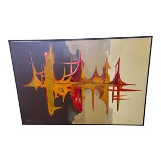 "1960s Vintage Carlo of Hollywood ""Sound Wave Ii"" Monumental Brutalist Abstract Oil on Canvas Painting For Sale"