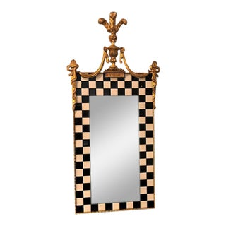 Hollywood Regency Carvers Guild Gilt Gold And Checker Board Decorated Mirror