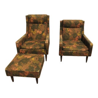 1970s Mid Century Modern Selig Monroe His Her Chair Ottoman Set - 3 Pieces For Sale