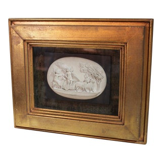 Carved Lava Stone Bas Relief For Sale