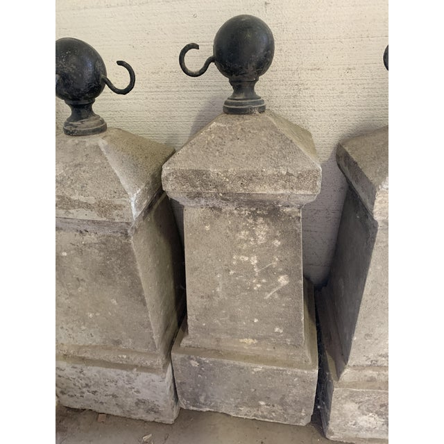 Metal Antique French Chateau Garden Iron and Concrete Bollard Posts - Set of Four For Sale - Image 7 of 13