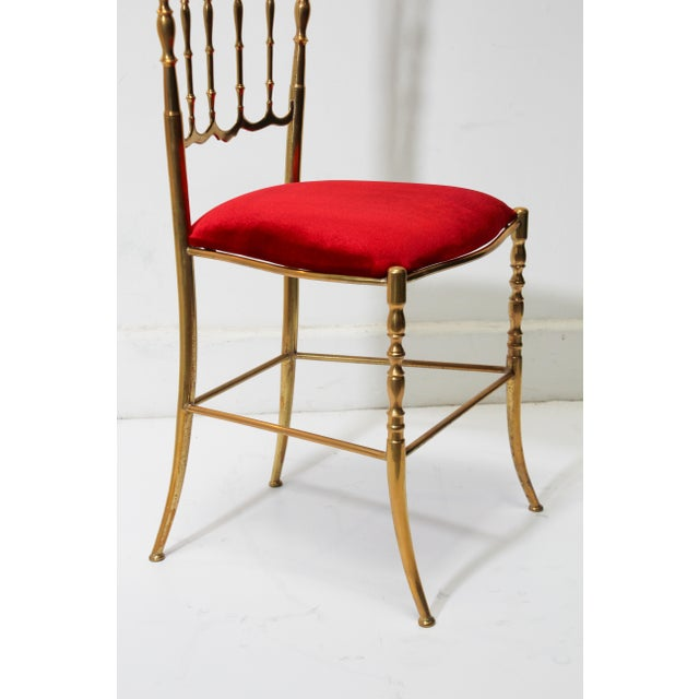 Chiavari Polished Brass Chair With Red Velvet, Italy, 1960s For Sale In Los Angeles - Image 6 of 10