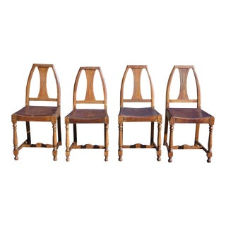 Antique Set of 4 Mission Arts & Crafts Solid Oak Dining Chairs For Sale