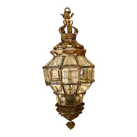 1900s Antique French Bronze 6 Light Lantern With Lion Motif For Sale - Image 10 of 10