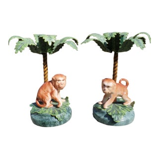 Petit Choses Palm Tree Candlesticks With Monkeys, a Vintage Pair For Sale