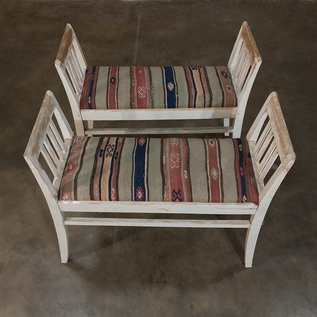 Early 19th Century Pair 19th Century Antique Swedish White Painted Stools With Ikot Upholstery For Sale - Image 5 of 11