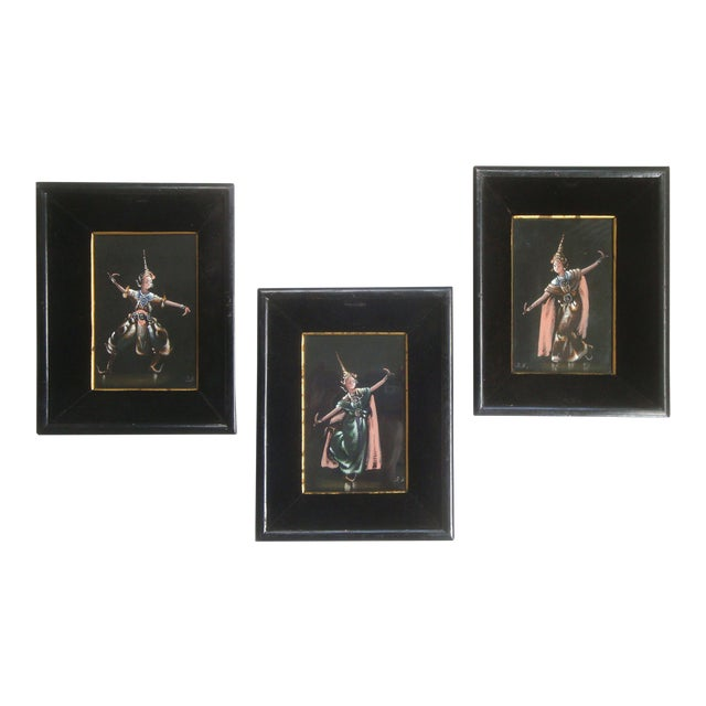 Thailand or Bali Dancer Silk Paintings, Set of 3 For Sale
