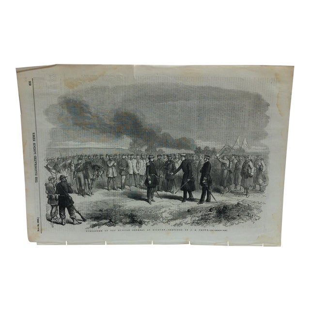 "1855 Antique ""Surrender of the Russian General at Kinburn"" The Illustrated London News Print For Sale"