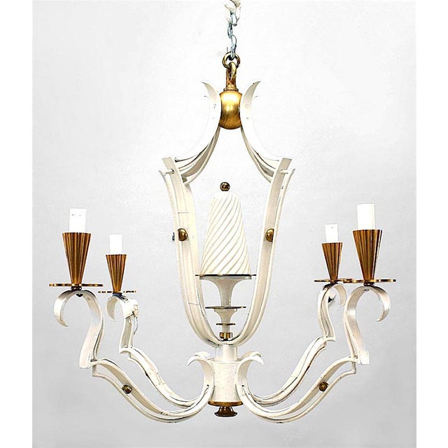 French 1940s white painted and brass four-light chandelier, the open lantern shaft issuing scrolling arms, scalloped drip...