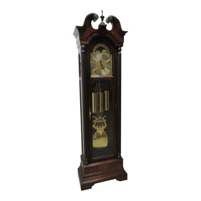 Cherry Flame Mahogany Broken Arch Grand Fathers Clock For Sale