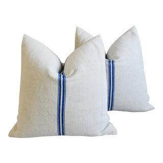 """French Country Cobalt Blue Striped Grain-Sack Feather/Down Pillows 22"""" Square - Pair For Sale"""