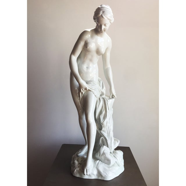 19th C. Falconet Porcelain 'Bather' Sculpture - Image 2 of 10