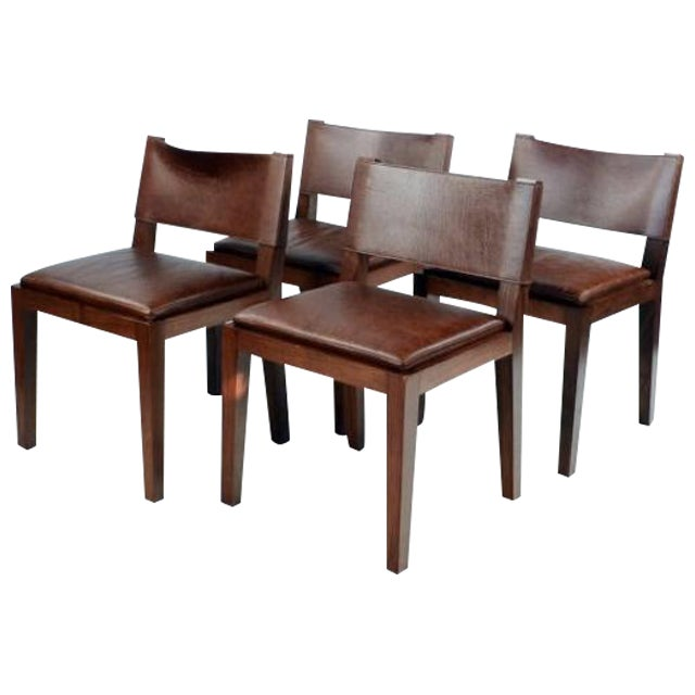 Hudson Furniture Modern Leather Chairs - Set of 4 - Image 1 of 6