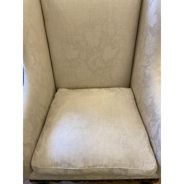 2000 - 2009 Damask Fabric Chair With Down Cushion and Mahogany Frame For Sale - Image 5 of 12