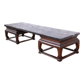 Michael Taylor for Baker Far East Collection Chinoiserie Marble Top Coffee Table For Sale