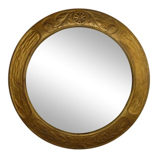 1910s Art and Crafts Aesthetic Movement Giltwood Round Mirror For Sale