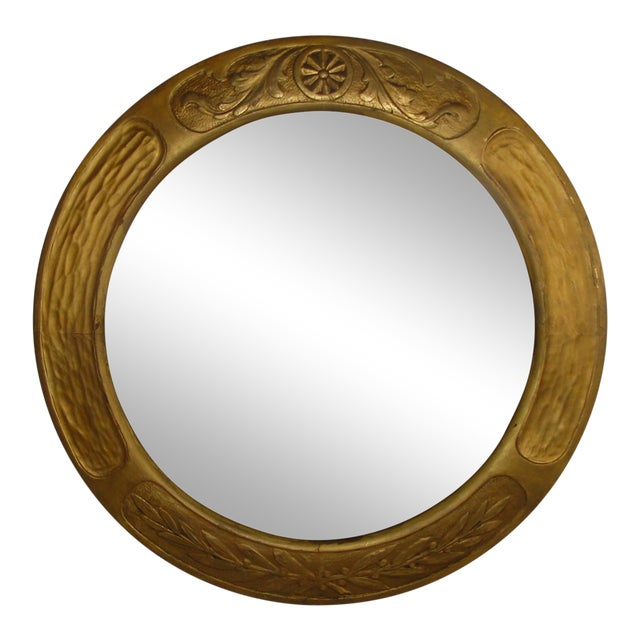 Art & Crafts Aesthetic Movement Giltwood Round Mirror For Sale