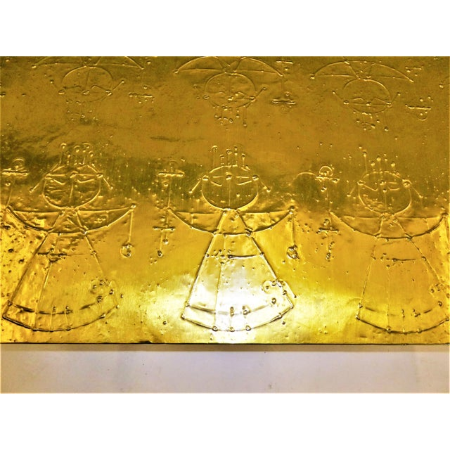 MidCentury Modern Raymor Scandinavian Repousse Brass Coffee Table 1960s For Sale - Image 10 of 13